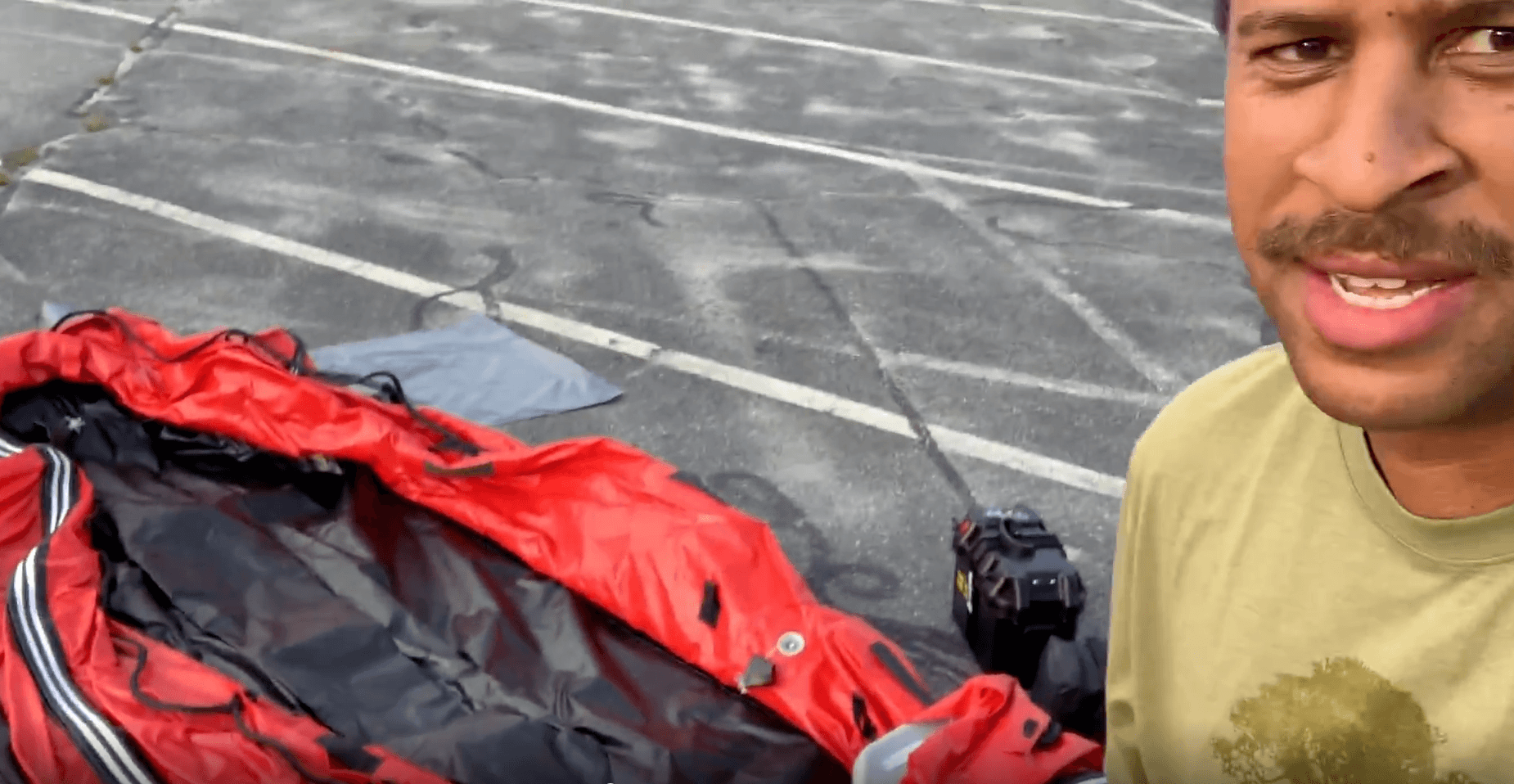 Inflatable Boat Positioned On Top of Carrying Bag