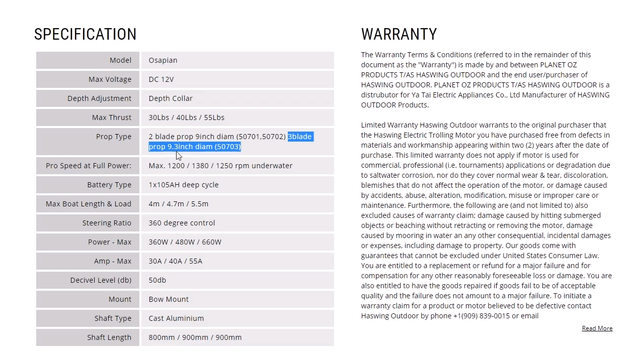 haswing osapian specifications